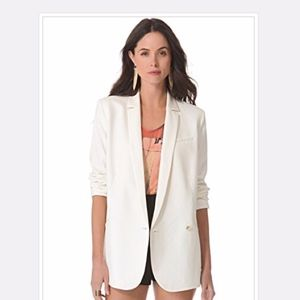 Elizabeth and James white blazer cinched arms